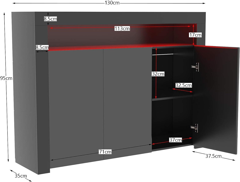 Vida Designs Nova LED Sideboard mit 2 T/üren Aufbewahrung Schrank Ausstellen M/öbelst/ück Hochglanz Modern RGB Beleuchtung Schwarz