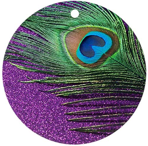 19 saijhii Glittery Purple Peacock Queen Round Holiday Christmas Ornament Holiday and Home Decor Round Xmas Gifts Christmas Tree Ornaments Ideas 2019 (Christmas Decorating Ideas Peacock)