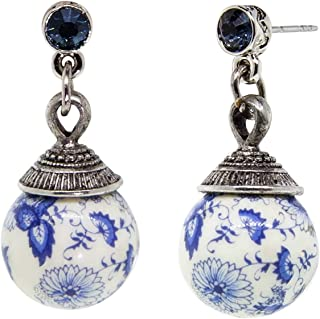 product image for Silver Tone Round Blue Willow Beaded Drop Stud Earring