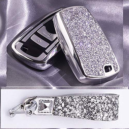 Royalfox(TM) Luxury 3 4 Buttons 3D Bling Smart keyless Entry Remote Blade Key Fob case Cover for BMW 1 2 3 4 5 6 7 M Series,BMW X1 X3 X4 M2 M3 M4 M5 M6,with Keychain (Silver)