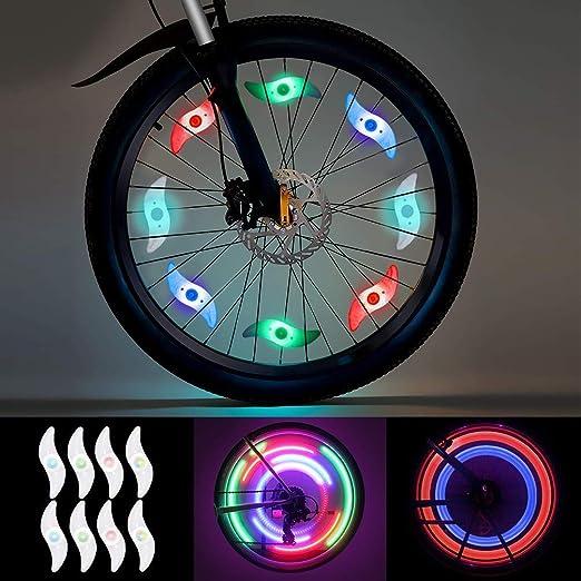 Luz de Radios de Bicicleta, LEDGLE Luz de Rueda LED 8 pcs (Rojo ...