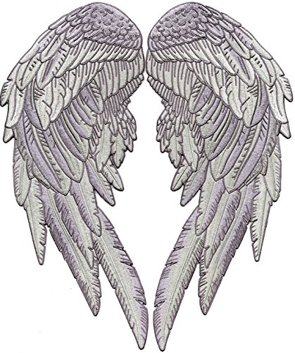 Angel Wings Embroidered Patches Feathers Patch Large Festival Lady Rider 2pc. Set - by Nixon Thread Co. ()