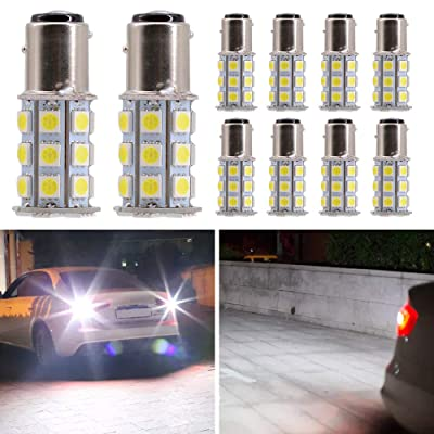 Mesllin LED Bulbs 1157 BAY15D 27SMD 6000K White Brake Turn Signal Parking Cornering Backup Tail Lamp LED Replacement Bulb for Car RV Camper (10PCS): Automotive [5Bkhe0910346]