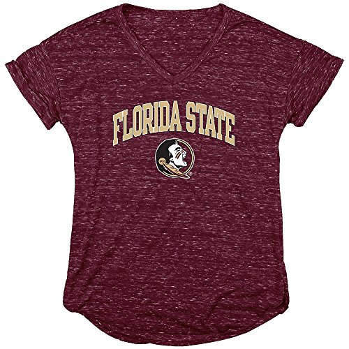 Shirt Garnet Womens (Elite Fan Shop Florida State Seminoles Womens Vneck Tshirt Garnet - L)