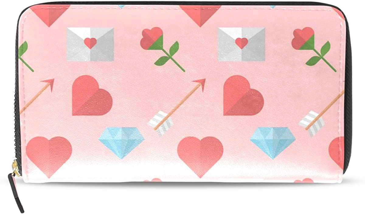 Heart Flower Arrow Long Leather Wallet Card Holder Zipper Purse Clutch Bag for Women