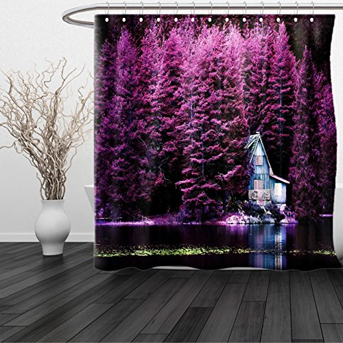 Lulu Sheer Panel (HAIXIA Shower Curtain Lavender Purple Trees by a Lake with Blue Wooden Rustic Lakehouse Lodge Romantic Spring Nature Queen Full Purple)