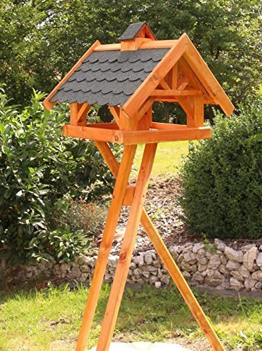 holzdekoladen Rechteckiges Vogelhaus Vogelh/äuser behandelt Typ 33 Maxi mit St/änder, Rot