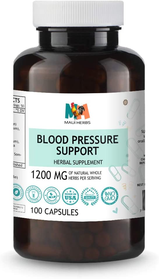 Blood Pressure Support 100 Capsules, Organic Herbal Blend Hawthorn Berry, Holy Basil, Cat s Claw, Flax Seed, Chamomile, Ashwagandha