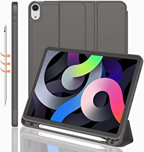 iMieet iPad Air 4th Generation Case 2020, iPad 10.9 Inch Case 2020 with Pencil Holder [Support Touch ID and iPad 2nd Pencil Charging/Pair], Trifold Stand Smart Case with Soft TPU Back (Space Grey)