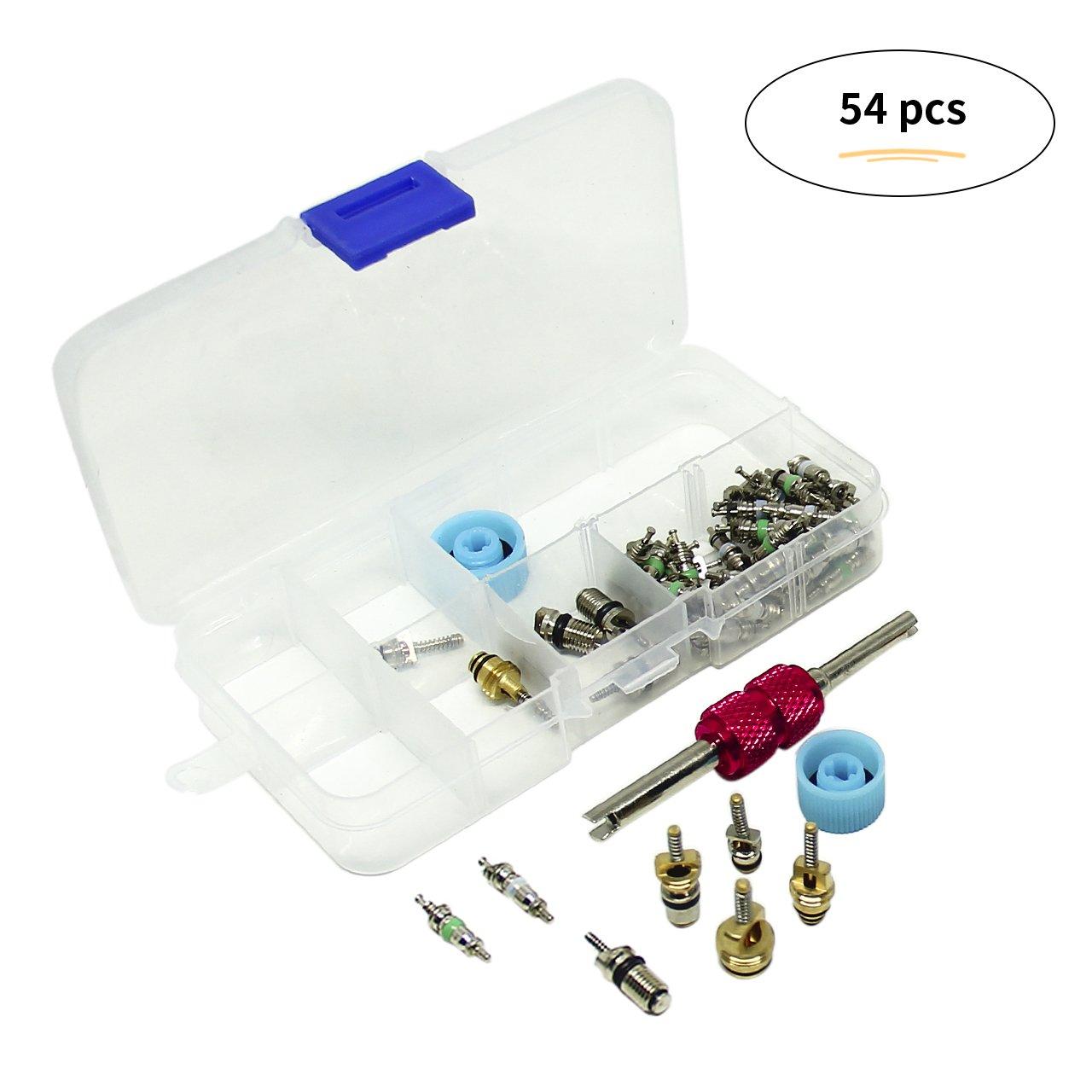 Magiin 108Pcs A//C R134A//R12 Valve Cores dair Climatisation Kit Accessoires avec Deux Bo/îtes de Rangement