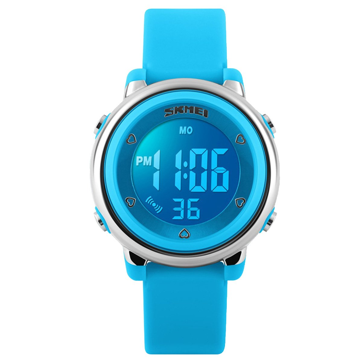 Kids Girls Watches, Outdoor Sports LED Alarm Stopwatch Watches 1100 (Blue)