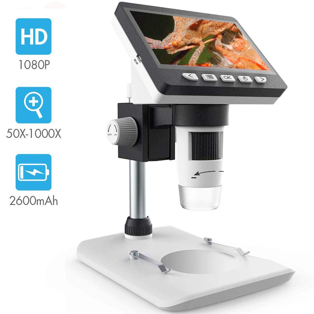 LCD Digital Microscope, SKYBASIC 4.3 inch 50X-1000X Magnification Zoom HD 1080P 2 Megapixels Compound 2600 mAh Battery USB Microscope 8 Adjustable LED Light Video Camera Microscope with 8G TF Card by SKYBASIC