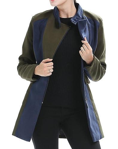 Scothen Mujeres Abrigo de invierno Chaqueta acolchada Chaqueta con capucha Transit Jacket Gabardina con doble botonadura de lana Parka abrigo Outwear Negro