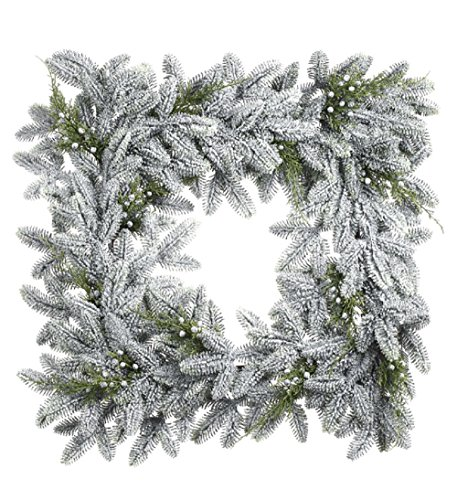 Snow Noble Fir Juniper Square 22 Inch Artificial Decorative Hanging Christmas - Christmas 22 Wreath Artificial