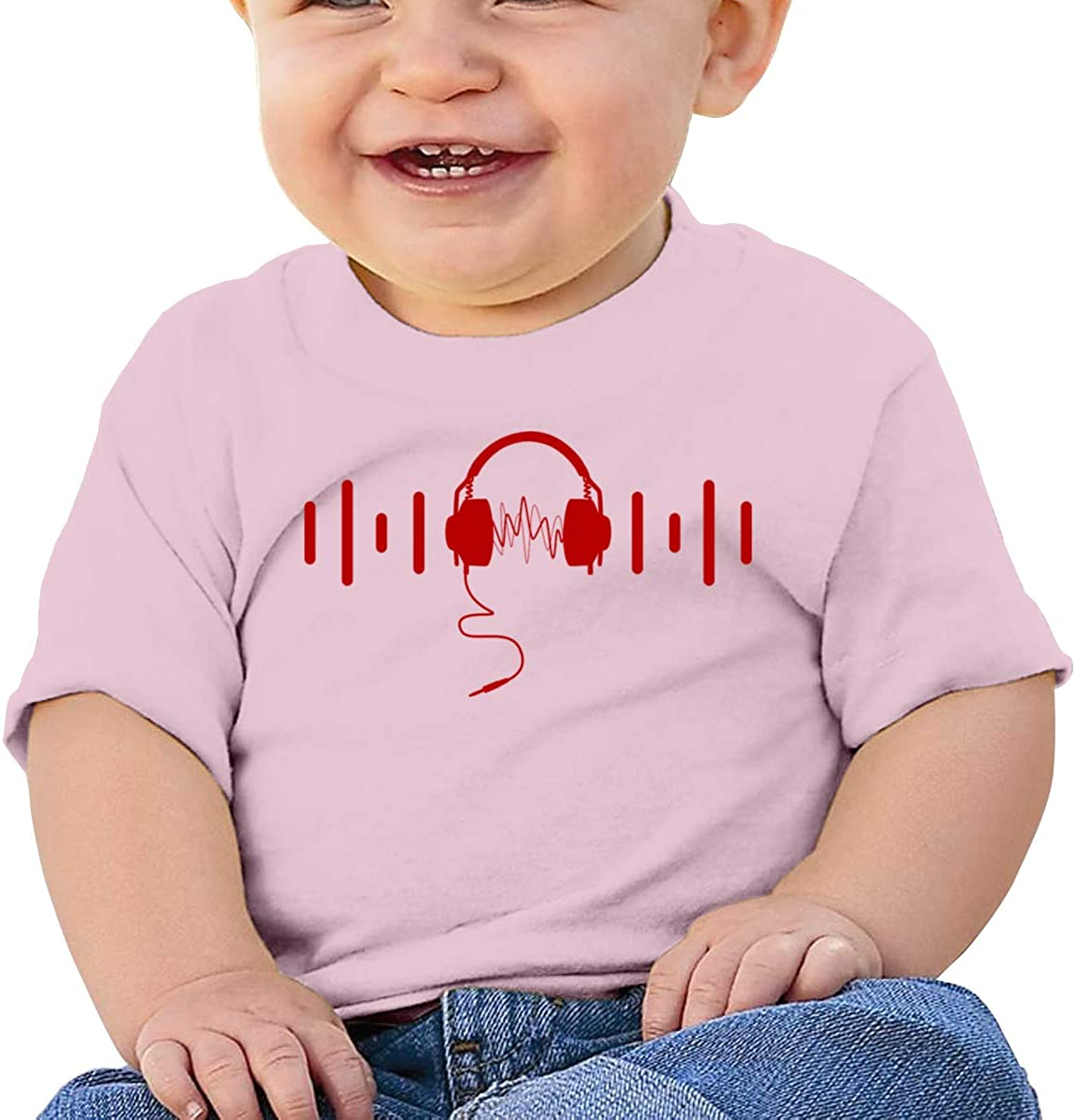 Electronic Music Rhythm with Red Headphone Baby Girl 100/% Cotton Tees Toddler