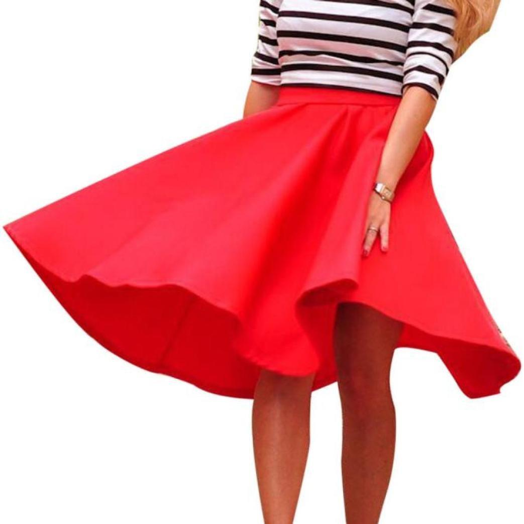 Pocciol Everyone Love Skirt Women Cotton Blend Vintage Stretch Skater Flared High Waist Long Pleated Swing Skirt Dress (Red, L)