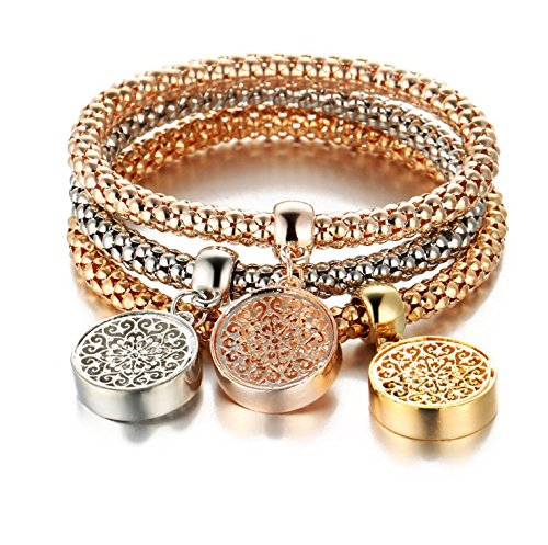 Price comparison product image Women Bracelet Rhinestone Bangle Jewelry Set 3pcs Charm Owl Crown Shape Rose Gold Jewellery Besooly (D)