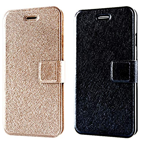 ([2pack] CaseHQ Case for iPhone 8/7,Wallet Flip Fold PU Leather Card Case Stylish Slim Stand Magnetic Closure Holders Pockets Drop Protection Cover for Apple iPhone 8 /iPhone 7 -Champagne+Black)