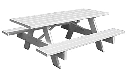 Swell Dura Trel Inc Picnic Table W Benches In White Finish 72 In Customarchery Wood Chair Design Ideas Customarcherynet