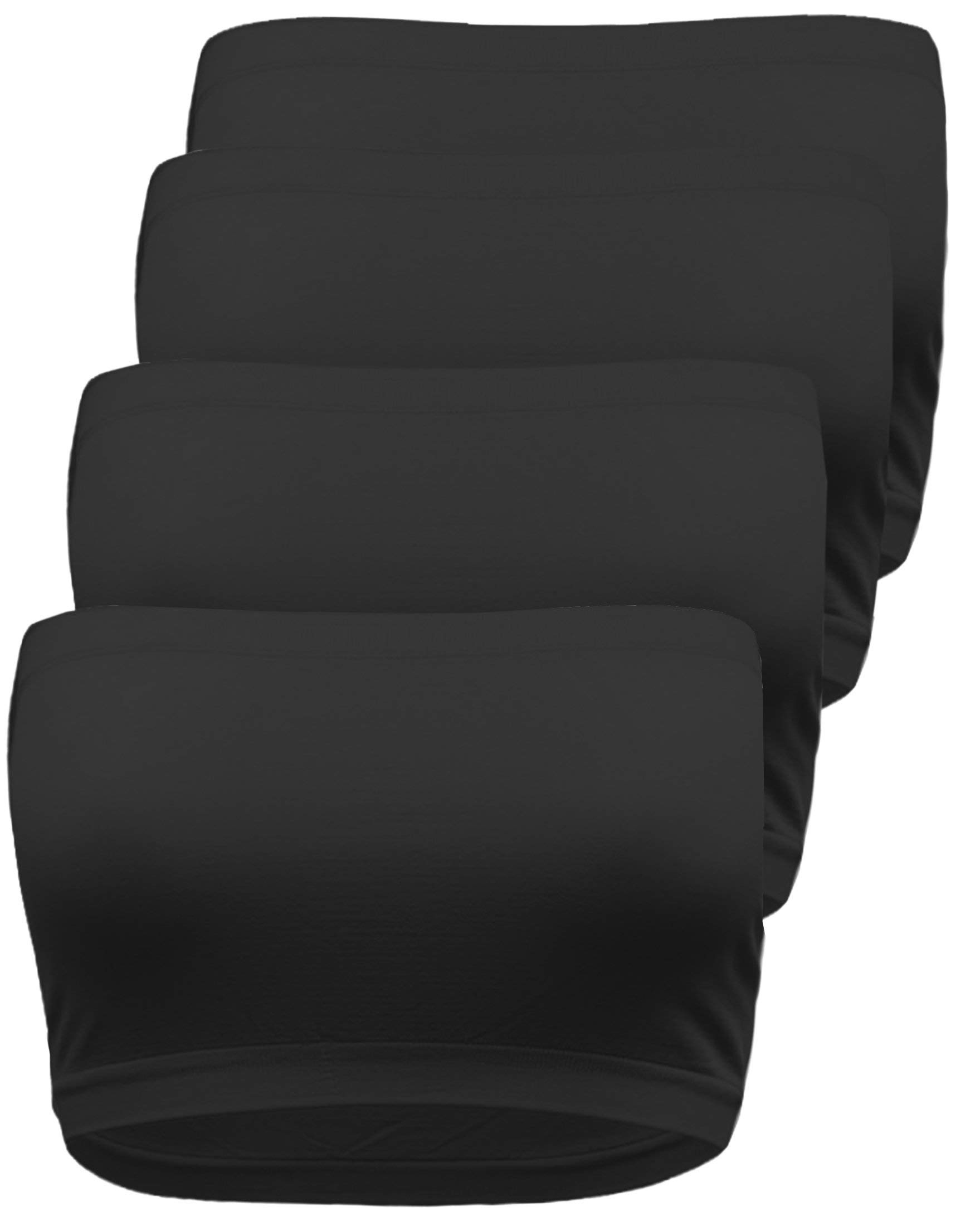 TL Women's Strapless Seamless Active Base Layer Bandeau Tube Top -Single or Pack 4 Packs: Plus Size Black Black Black Black by TOP LEGGING