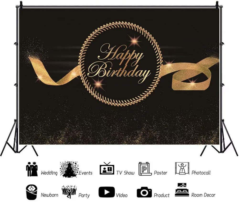 DaShan 12x8ft Happy Birthday Backdrop Women Lady Men Black and Golden Ribbon Glitter Birthday Celebration Photography Background Birthday Party Decoration Cake Table Banner Photo Props