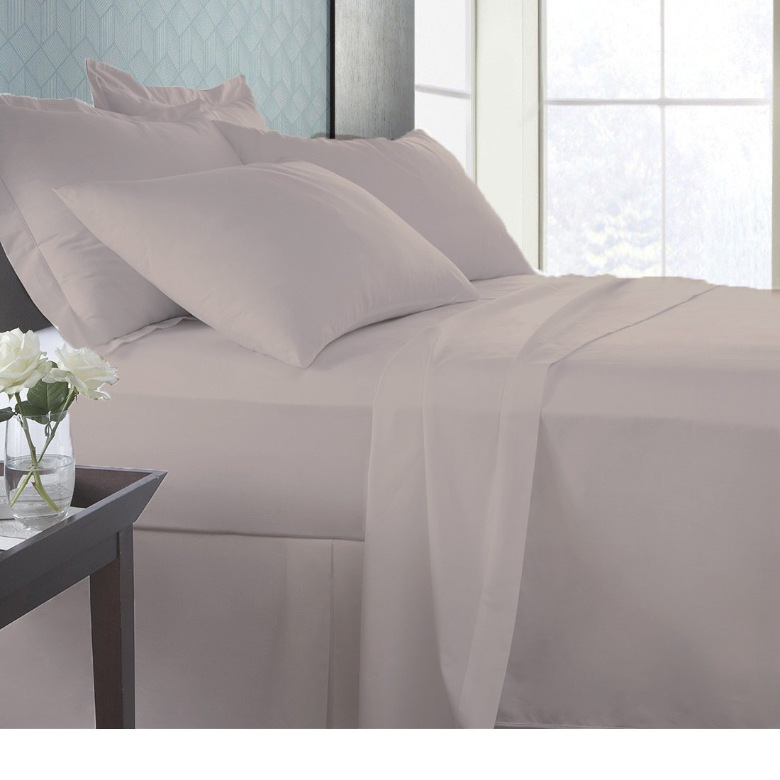 """America Bedding Bamboo Sheet set 800 TC, Italian finish Eco-friendly, Hypoallergenic, Fade resistant and Less piling 21"""" deep pocket antibacterial fiber sheets Sale on Amazon King, Taupe"""