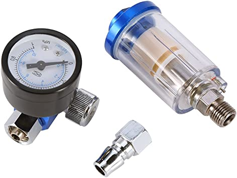 "1//4/"" Mini Air Spray Paint Gun Regulator w// Gauge Oil Water Separator Filter Trap"