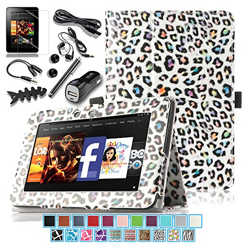 """Pandamimi ULAK(TM) Folio Magnetic Stand PU Leather Case Cover with Auto Wake/Sleep Smart Cover Function for Amazon Kindle Fire HD 7"""" inch (2012 Previous Model, will not fit All- New 2013 Model and HDX Model) with 9in1 Accessories - Screen Protector, Cleaning cloth, Application, Headphone, USB Cable, Car Charger, Touch Stylus, Earphone splitter cable (1 in 2 out), Fishbone Shape Earphone Cord Winder (Pattern G)"""