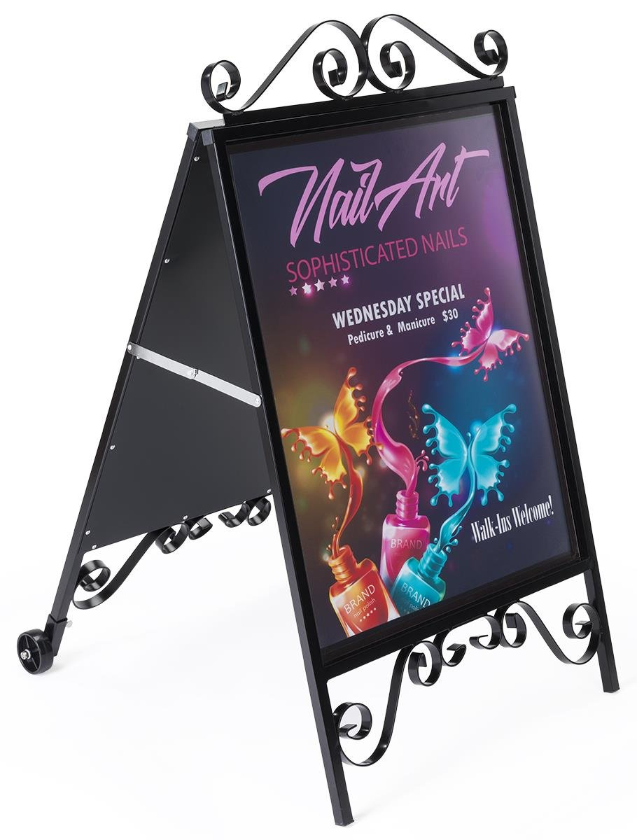 Displays2go 22 x 28 Double Sided Sidewalk Sign with Removable Wheels – Black (OLDSN2228W)