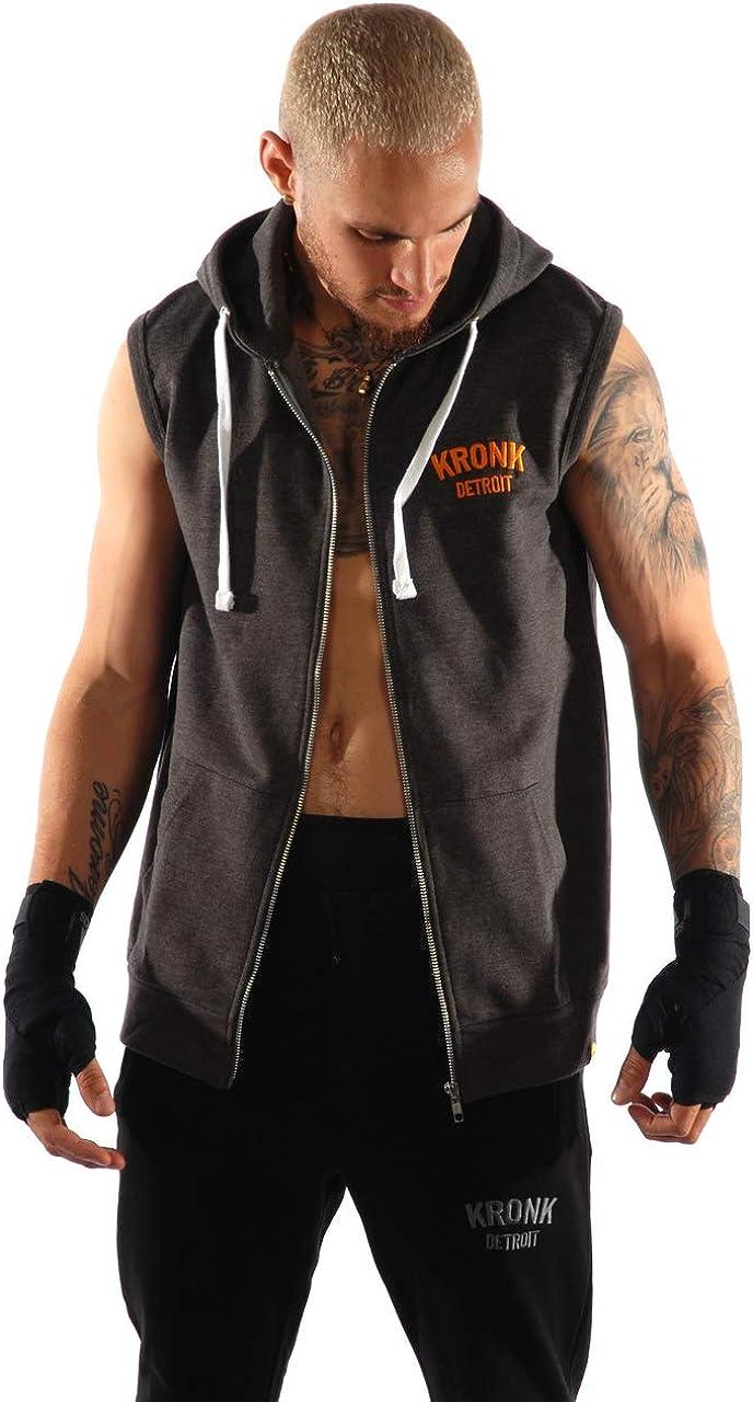 Kronk Men/'s Sleeveless Gym Detroit Zip Hoodie Charcoal Orange