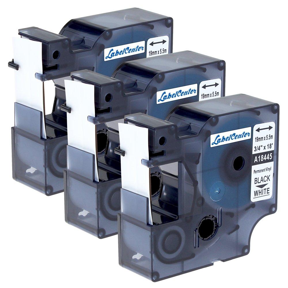 3Roll 19 mm Etichette viniliche Rhino Dymo 18445 nere su bianco per stampanti di etichette Dymo Rhino 1000, 3000, 4200, 5000, 5200, 6000 e ILP-219 Anycolor