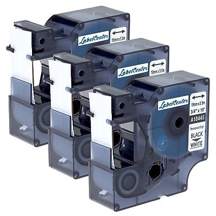 Anycolor 18445 cinta de etiquetas Compatible para usar en lugar de Dymo Rhino Vinilo, 19 mm Cintas Compatibles de Vinilo Negro sobre Blanco para ...
