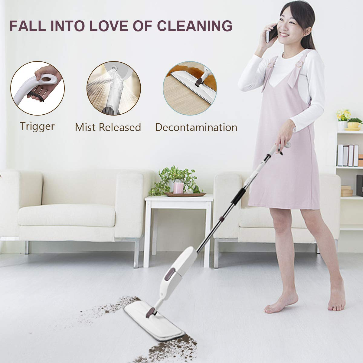Aicehome Spray Mop, Floor Mop and Microfiber Mop with Integrated Spray and 360 Degree Rotation,Dry Wet Mop with 3 Free Reusable Microfiber Pads for Cleaning Hardwood, Laminate, Tile Floor (White1) by Aicehome (Image #7)