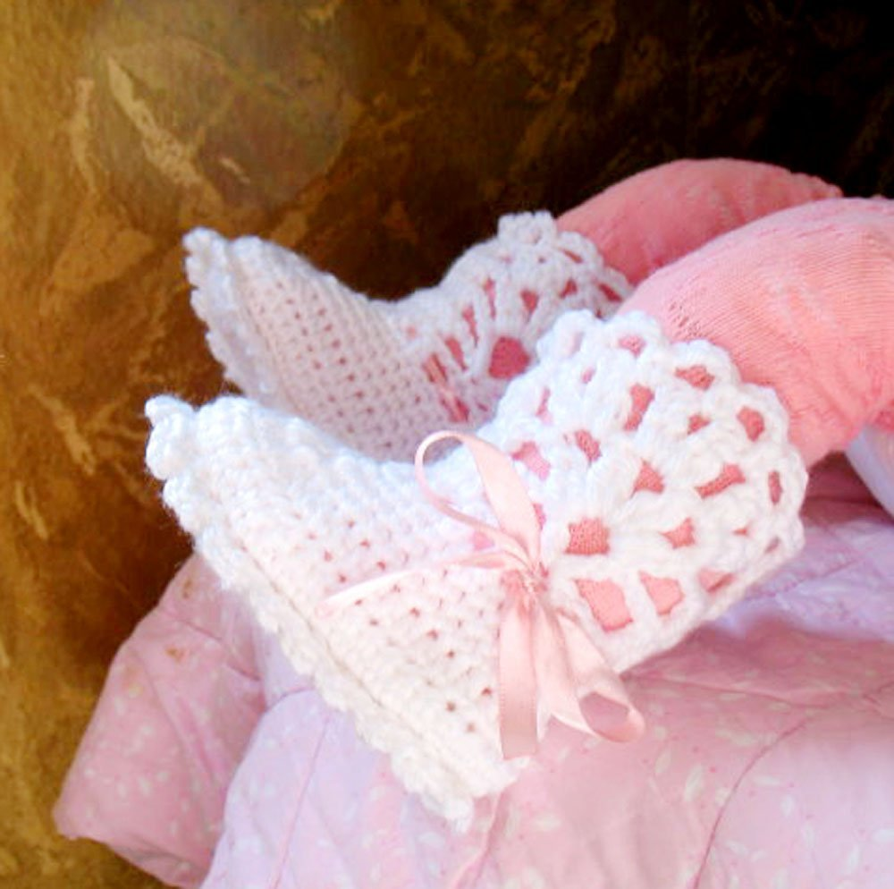 b60e166ee Amazon.com  White Lace Top Booties with Pink Ribbon Crocheted Handmade Booties  Baby Shower Gift Free Shipping  Handmade