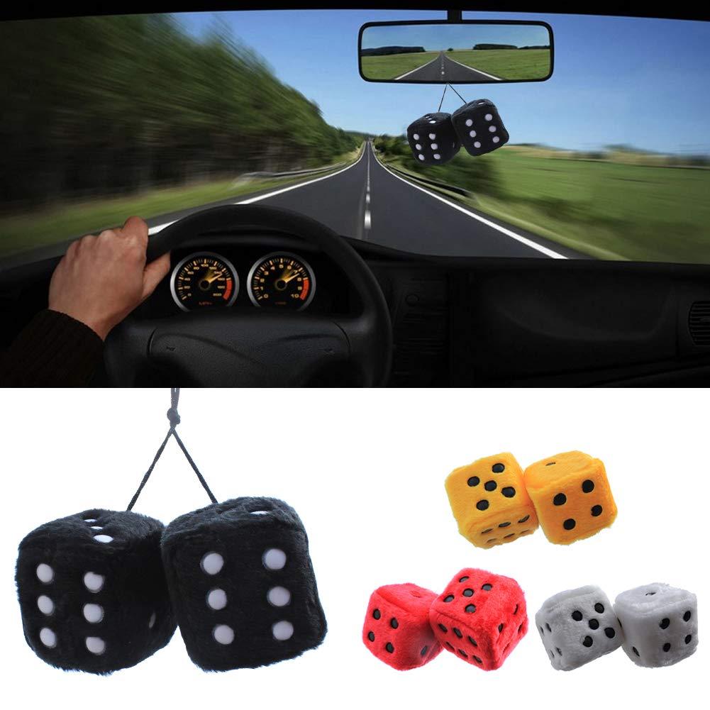 Wflashsale Car Hanging Furry D/és avec Points pour Voiture Int/érieur Ornement D/écoration Peluche 7.5cm Rouge 1 Paire