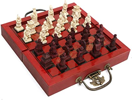 Chinese Army Style 32 Pieces Chess Set Leather Wood Box Board /& Traditional Game
