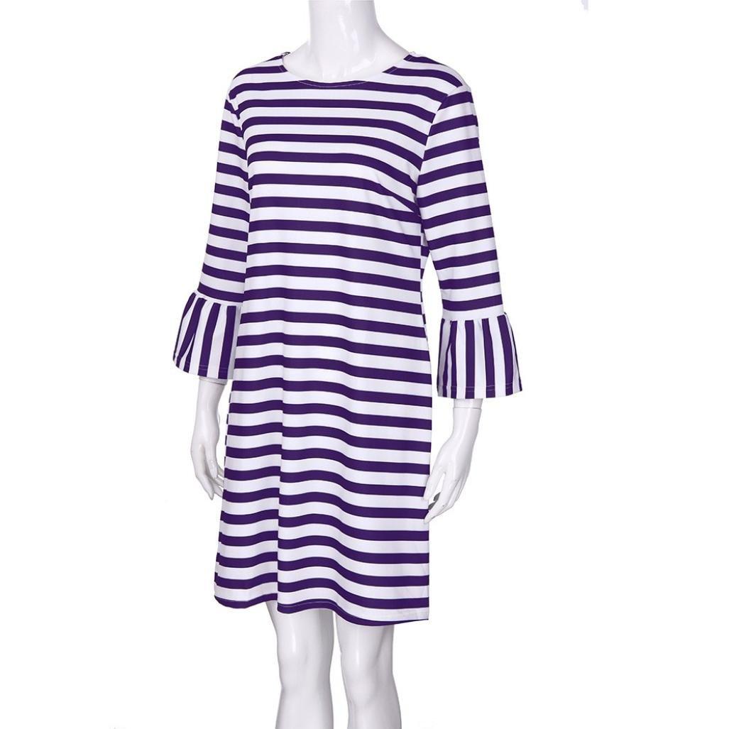 Spbamboo Women Striped Print Flare Sundress Vest Slim Dress Family Clothes by Spbamboo