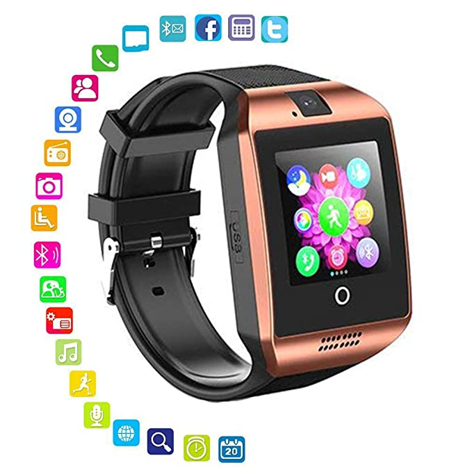 Smart Watch with Camera - Bluetooth Smartwatch with Sim Card Slot Fitness Activity Tracker - Sport Watch for Android Smartphones (Gold)