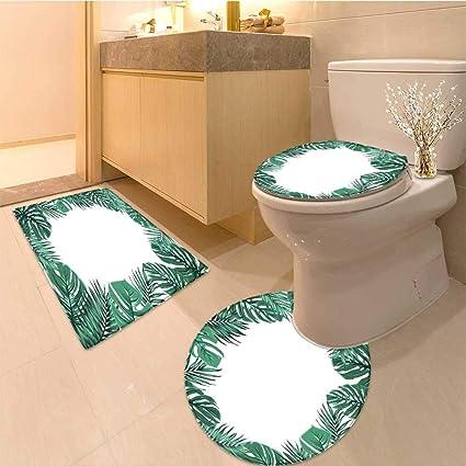 Miki Da 3 Teiliges Badteppich Set Exotic Tropical Jungle Rain Forest Bright Grun Palm Baum Und Kostliches Weiche Shaggy Rutschfest 14 X16 D28 24 X48 Color2 Amazon De Kuche Haushalt