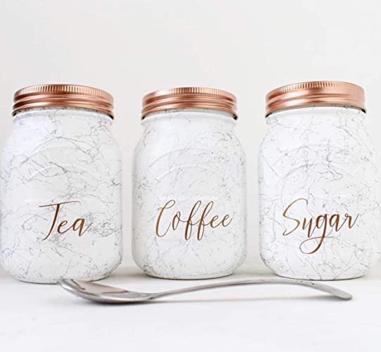 Set Of 3 White And Silver Marble Tea Coffee Sugar Kilner