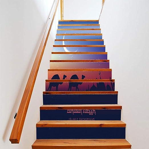 Etiquetas engomadas de la escalera, 13 piezas Decoración de vacaciones Etiquetas engomadas de la escalera Calcomanías Escaleras Creativas Pegatinas de pared Murales para el hogar Decoración de arte Mu: Amazon.es: Hogar
