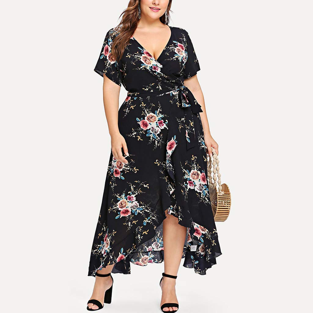 Dresses for Women Plus Size DDUPNMONE Ladies Skirts Flower Printed Loose Scottish Dress Casual Short Sleeve Low-High Spring and Summer Style Summer Dress Black