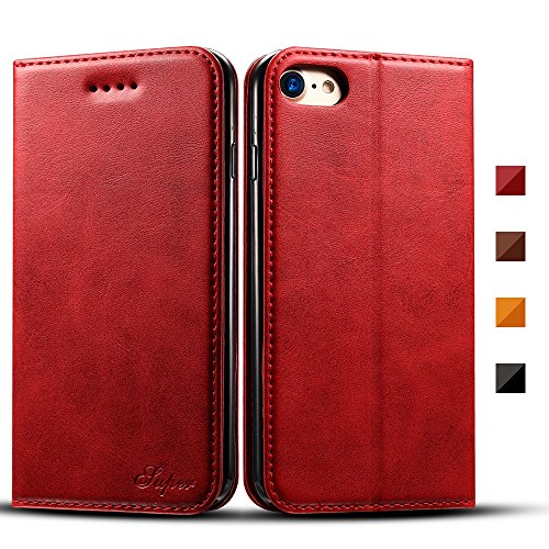iPhone 7 Plus, 5.5'', Flip Folio Wallet Stand up Credit Card Holder Leather Case Cover Holster/Magnetic Closure/TPU Bumper/360 Full Body Protection Red (Chassis 360)