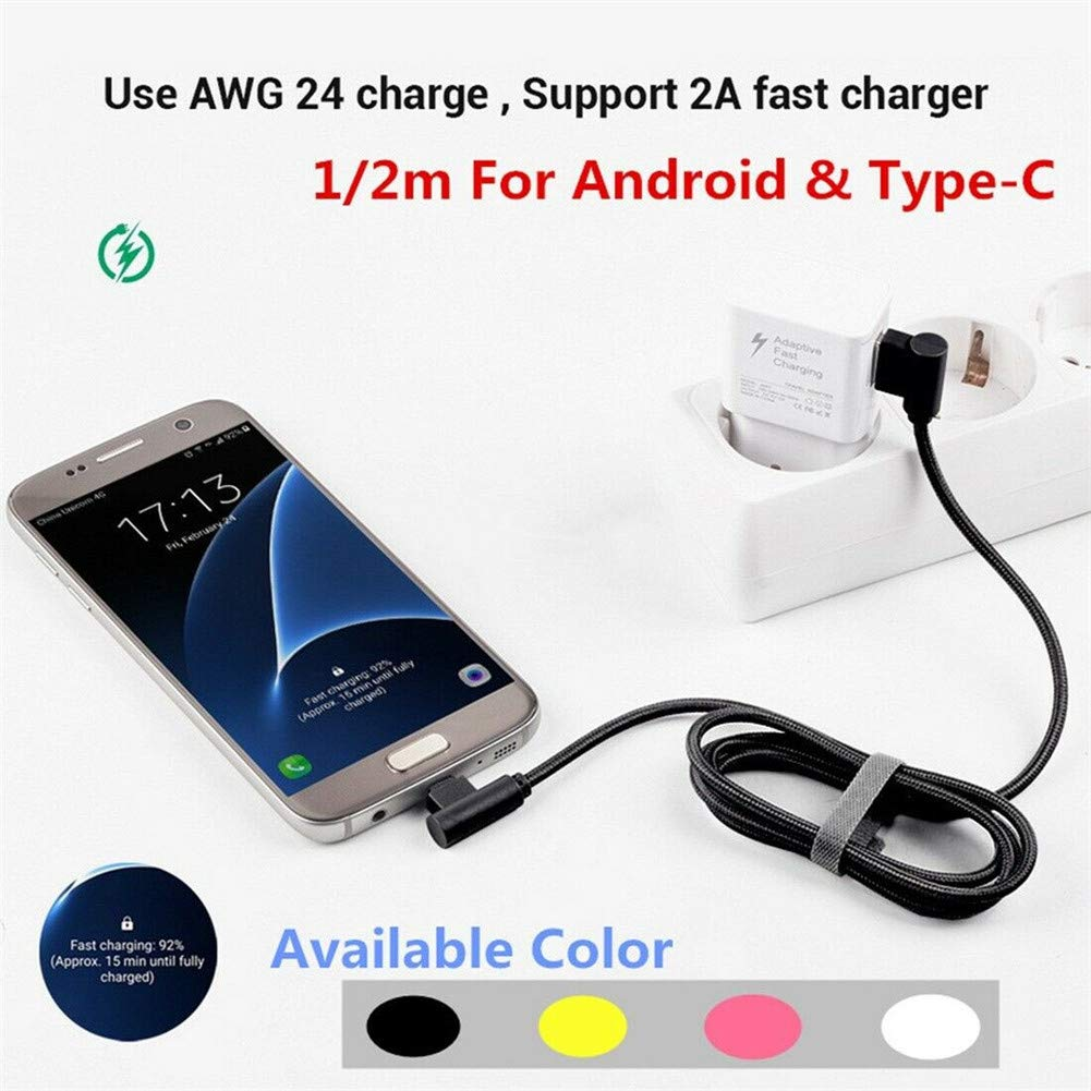 Black Alician Braid USB Nylon Charging Cable L Shape Line for Type-c Android Xiaomi Micro Android 25cm