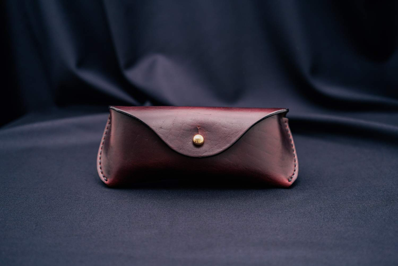 Burgundy Horween Chromexcel Leather Glasses Case//Eyewear Sleeve//Sunglasses Cover