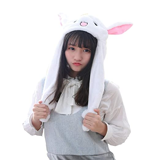 Girl's Accessories Hot Sell Fashion Moving Hat Rabbit Ears Plush Sweet Cute Airbag Cap 2 Color Can Be Choose