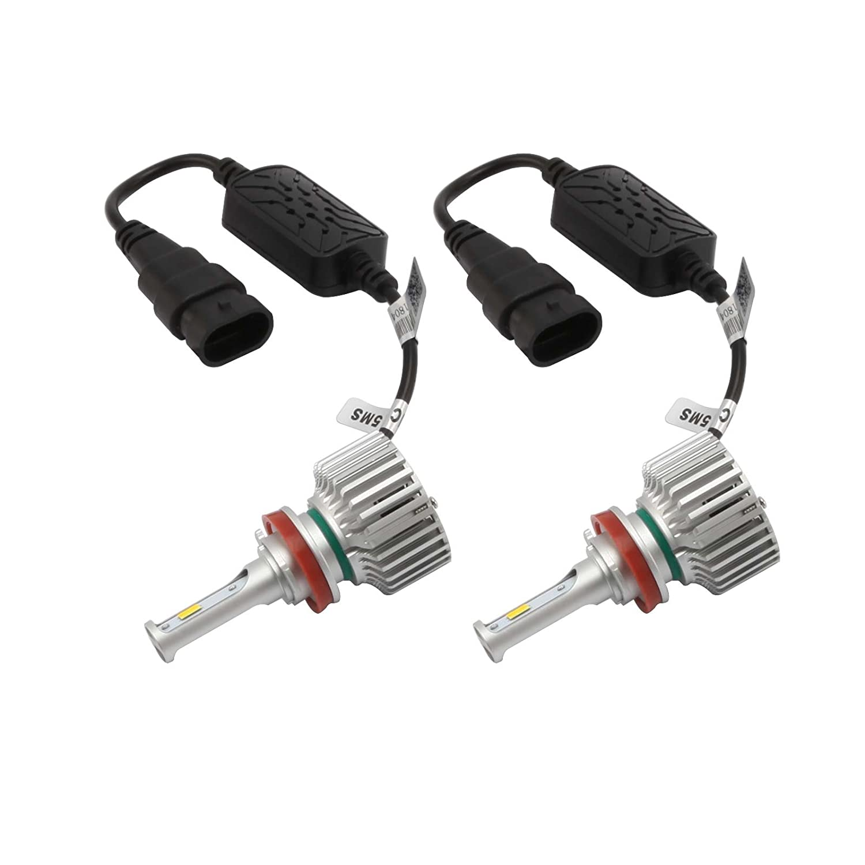 In EMC Decoder 2 pack ZOIC H7 Auto Automotive LED Headlight Headlamp Bulbs Conversion Kit 28W 3000K-6000K Cool White Light Yellow Light 5 adjustable modes Built