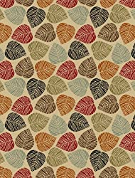 Rubber Collection Leaves Multi-Color Printed Slip Resistant Rubber Back Latex Contemporary Modern Area Rugs and Runners (1161/1162)