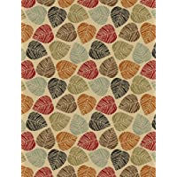 Rubber Collection Leaves Multi-Color Printed Slip Resistant Rubber Back Latex Contemporary Modern Area Rugs and Runners (1161/1162) (Multi Leaves, 5x66)