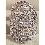 Luxurious 925 Silver White Sapphire Multilevel Ring Bridal Wedding Women Jewelry (10)